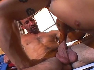 Muscle bound pencil loves dick slamming