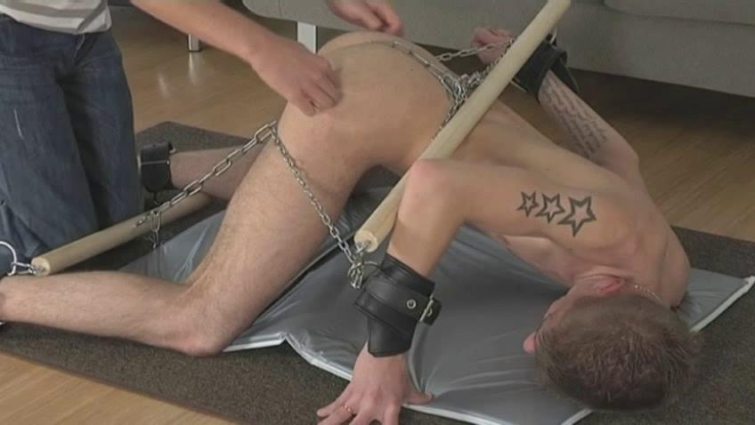 Tattooed pale gay gets every fixing of his body chained