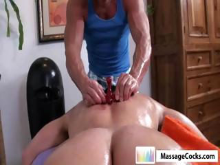 Studly masseuse gives gay boy Dylan a deep rub-down close by toys