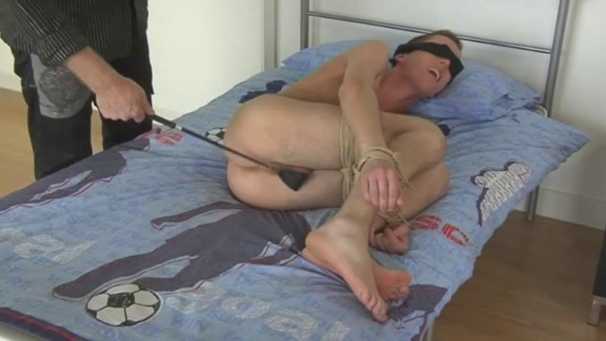 Blonde gay dude gets blindfolded coupled with spanked with a horse whip