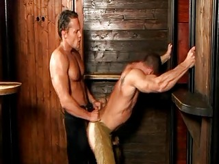 Turned on handsome gay cowboys ride each others dick doggy express