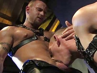 Leather Muscle Man Making out An Uncut Adhere to