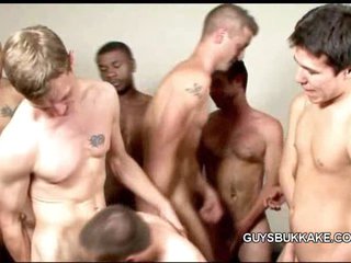 Bareback well-pleased gangbang