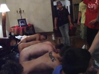 Straight guys getting hazed on touching 'round the lambaste process
