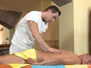 Cute twink gets a lusty massage distance from impressive happy-go-lucky dude