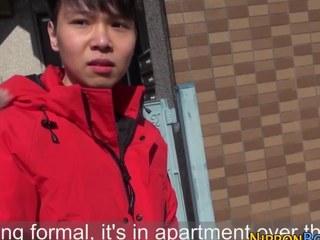 Horny asian twink strokes