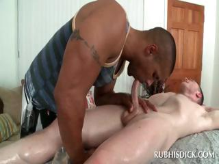Interracial blowjob with joyous dudes