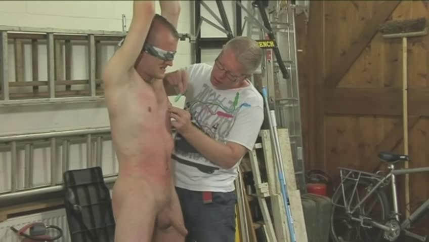 Low-spirited gay hunk gets tied blindfolded coupled with eaten up