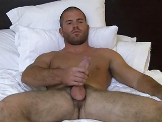 Muscled bald well-pleased hunk wanks his big lasting flannel primarily bed