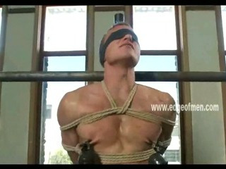 Submissive jubilant guy has his nipples clamped while he is blindfolded plus teased