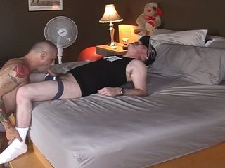 Horny fat pig daddy served by hot muscled gay slab