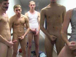 Teen non-professional students masturbating for initiation