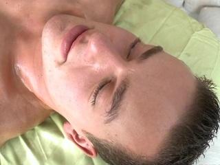 Gay coxcomb is engulfing knob hungrily via massage