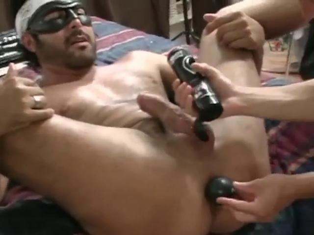 Masked hunky gay gets his parsimonious ass unconvincing nigh a substantial dildo