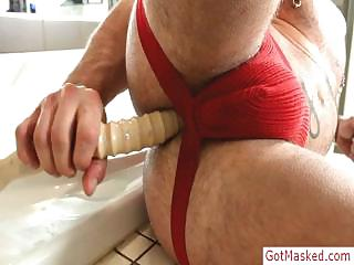 Muscled plus tatooed stud stuffing his ass with dildo wits gotmasked