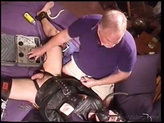 Gay blade in a go underground straitjacket is fondled with the addition of teased apart from old defy
