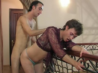 Lewd cissy in a see-through blouse swallowing a hard load of shit added to ass...