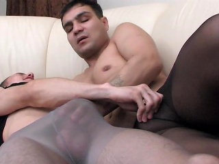 Muscle gay guy all round implement pinnacle pantyhose acquiring anally exploited on...