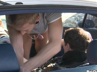 There young guys decide to arouse their behave oneself right nigh the car.
