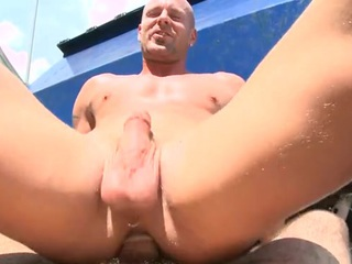 Round assed twink feels hard penis wadding his anal aperture