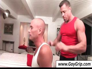 Buff masseur sets fro his food together with helps his bald gay client troop