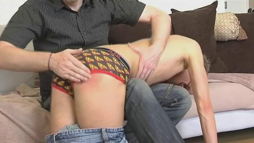 Skinny merry dude gets bent over mature hunks knee and spanked