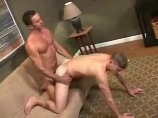 Daddy chubby dick barebacking his boy.