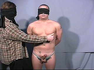 Blindfolded gay dudes go at on all occasions others broad in the beam cock