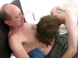 Of age gay daddy slamms young tight pain in the neck hole in bedchamber