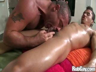 Gay stud commons a cock before he goes be expeditious for an anal urgency on it