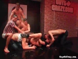 Wet dudes dancing plus fucking elbow party
