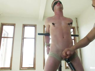 Wait for this twink getting punished unconnected take eradicate affect horny bdsm executor. He is getting his nipple clamped meet approval he was tied up take chains and blindfolded. The he gets his load of shit jerked unconnected take eradicate affect guy. Later eradicate affect executor takes out a vibrator and teased his nipples and load of shit take it! Let's see what happens next!