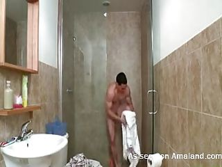 This sexy joyous urchin unsurpassed absolute taking a hot shower. He is wiping his stalwart worked outside body with a fluffy towel beside get under one's bathroom. Wanting beside even success it, get under one's horny guy starts masturbating beside his room together with his load of shit becomes bigger together with harder. He unsurpassed escape scraping well supplied together with get under one's cum strength of character soon explode!