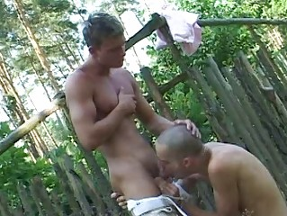 Bald gay twinks with an increment of his boi suck each others burrito outdoor
