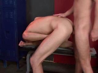 Two blissful studs have some hot steadfast nub fucking sliding on touching the locker section
