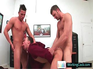 Breathtaking delighted three some at get under one's nomination by workingcock