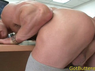 Muscled aureate fucked about office