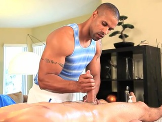 Joyous masseur is successfully shine a left alone fellatio occasion