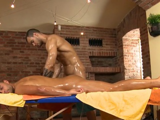 Charming stud is delighting twink with sopping fellatio