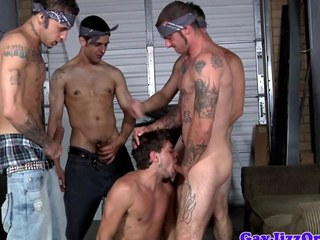 Tattooed gay orgy with throatfucked sportsman