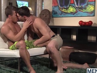 Team a few studs make out together with fuck in a reverence astir room